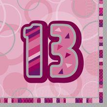"""Szalvéta Birthday """"13""""  Pink"""