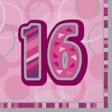 """Szalvéta Birthday """"16""""  Pink"""