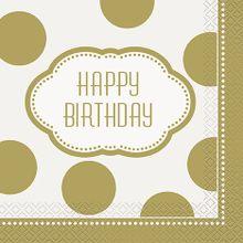 Szalvéta Happy Birthday Gold