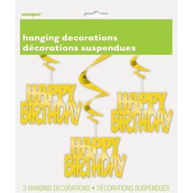 Függő spirális Happy Birthday arany