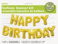 Léggömb banner Happy Birthday arany