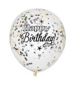 Léggömb konfettivel Happy Birthday - fekete