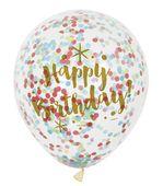 Léggömb konfettivel Happy Birthday - arany