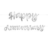 Banner Happy Anniversary ezüst