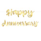 Banner Happy Anniversary arany