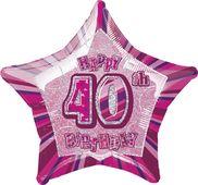 Fólia csillag rózsaszín 40