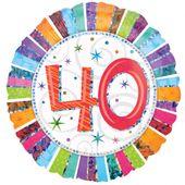 """Fólia léggömb """"40""""  Radiant Birthday"""