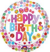Fólia léggömb Happy Birthday pöttyös
