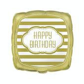 Fólia léggömb Happy Birthday Gold