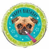 Fólia léggömb Pug Birthday