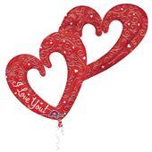 Fólia multi léggömb Interlocking Hearts piros