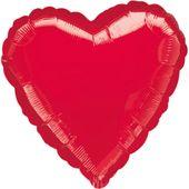 Jumbo léggömb metalikus piros szív