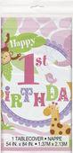 Asztalterítő 1. születésnap pink Szafari