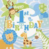 Szalvéta 1. születésnap blue Szafari