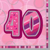 """Szalvéta Birthday """"40""""  Pink"""