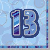 """Szalvéta Birthday """"13""""  Blue"""