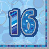 """Szalvéta Birthday """"16""""  Blue"""