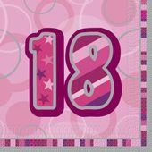 """Szalvéta Birthday """"18""""  Pink"""
