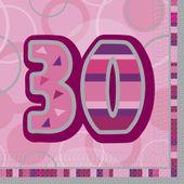 """Szalvéta Birthday """"30""""  Pink"""