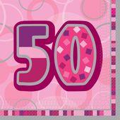 """Szalvéta Birthday """"50"""" Pink"""