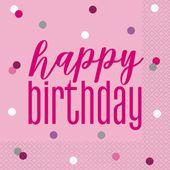 Szalvéta Birthday Pink