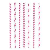 Papír szívószál Chevron&Dots rózsaszín