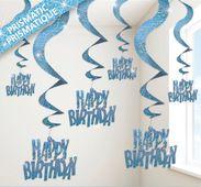 Spirálok glitz Happy birthday kék