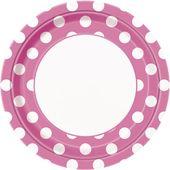 Tányér rózsaszín pöttyös