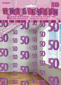 Függődekoráció glitz 50 rózsaszín
