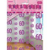 Függődekoráció glitz 60 rózsaszín