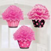 Rózsaszín függő bolyhos kosárkák