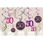 Függő spirális 50 pink diamonds