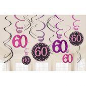 Függő spirális 60 pink diamonds