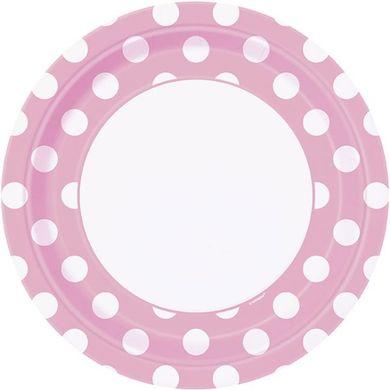 Tányér világos rózsaszín pöttyös